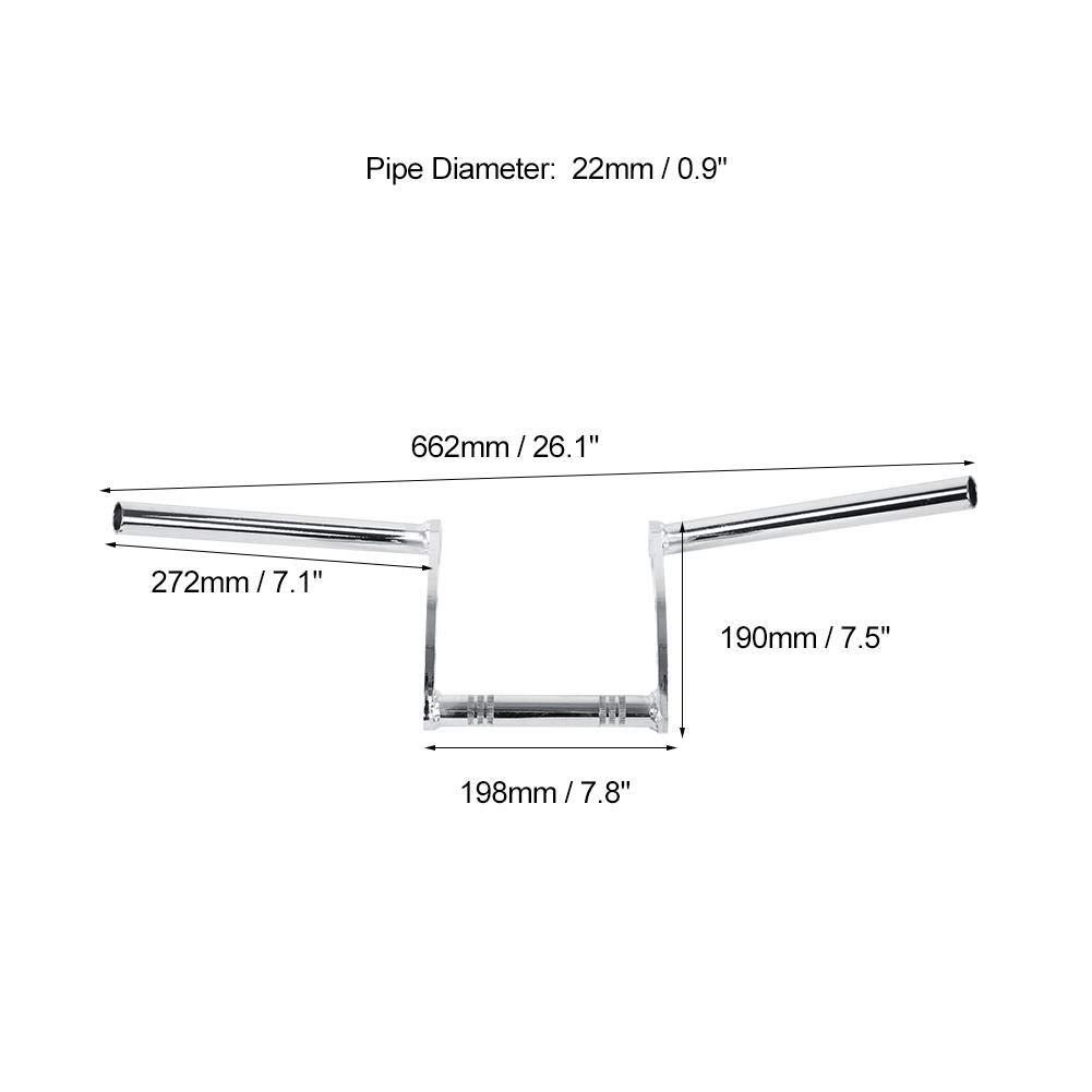 25mm-Chrome EBTOOLS 125mm 7//8  Guidon de Moto Guidon Drag Bar pour xl883 xl1200
