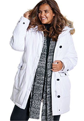 (Woman Within Plus Size The Arctic Parka - White, 1X)