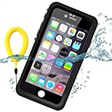 Temdan 33ft/10m Deep Floatable Waterproof Case for iPhone 6/6s(4.7inch) with Kick Stand and Float Strap--BLACK/CLEAR