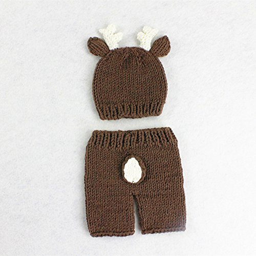 Newborn Baby Photography Prop Idea: Crochet Knitted Deer Hat And Pant Set For A Boy Or Girl