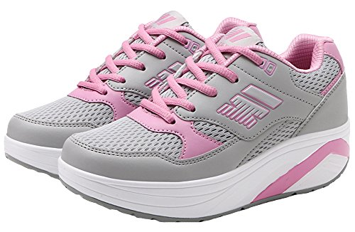 Women's Lace up Fashion Sneakers Breathable Mesh Low Top Platform Shoes (7.5 M, grey)