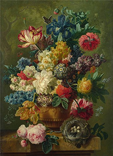 Mexican Pine Armoire (Oil Painting 'Paulus Theodorus Van Brussel Flowers In A Vase (1)', 16 x 22 inch / 41 x 56 cm , on High Definition HD canvas prints is for Gifts And Foyer, Game Room And Nursery Decoration)