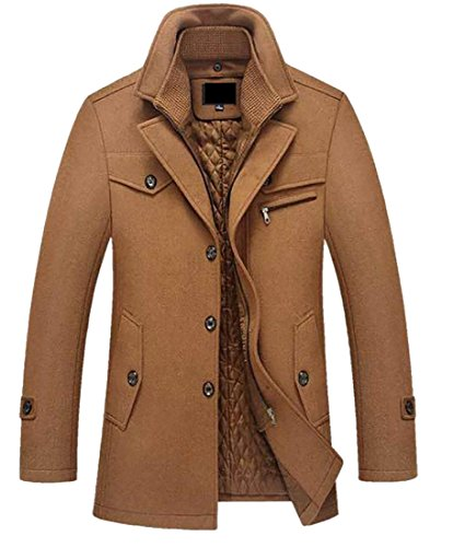 Single Breasted Quilted Jacket - XTX Mens Winter Quilted Pea Coat Single Breasted Zipper Overcoat Camel XL