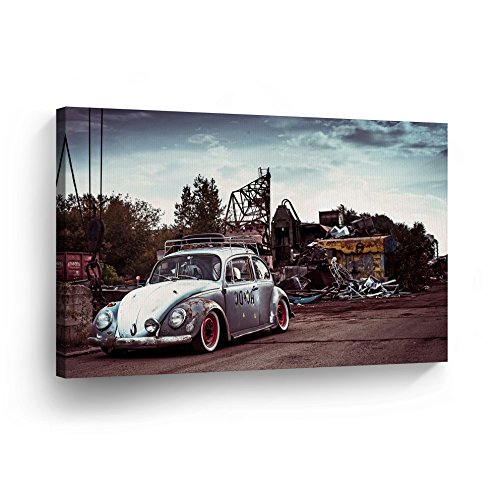Old Rusty Volkswagen VW Beetle in the Junk Yard CANVAS PRINT Decorative Vintage Rustic Art Modern Wall Decor Artwork Wrapped Wood Stretcher Bars - Ready to Hang - %100 Handmade in the USA - VBH15