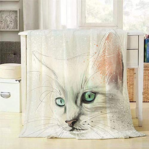 - Mugod White Cat Throw Blanket Elegant and Noble Blue Eyed Pet Cat Extra Soft Warm Lightweight Cozy Luxury Suitable for Babies Family Pets 30x40Inch
