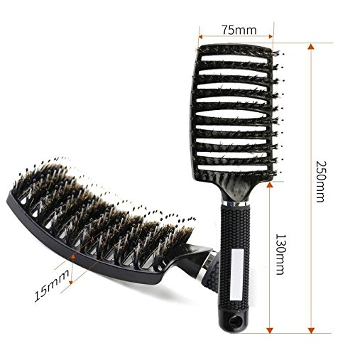 Spazzola per capelli con setole di cinghiale set–JT Justime curvo e ventilato spazzola Districante