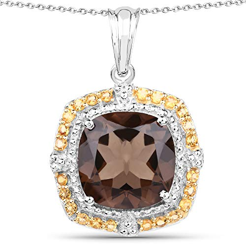 Bonyak Jewelry Genuine Cushion Smoky Quartz and Citrine Pendant in Sterling Silver