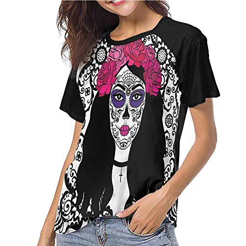 Female Tops,Sugar Skull,Girl with Make Up S-XXL(This is for Size Large),Women Personalized T-Shirt O-Neck ()