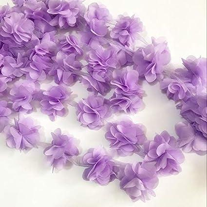 b8b59e6bc9d02 Amazon.com: 2yard=24pcs Flowers 3D Chiffon Cluster Flowers Lace ...