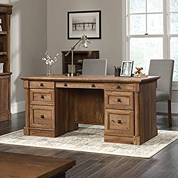Etonnant Sauder Palladia Executive Desk In Vintage Oak
