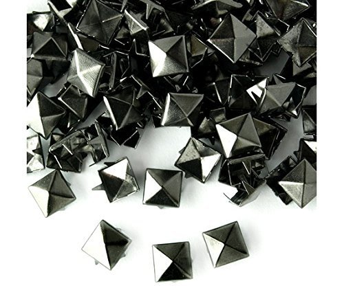 Trimming Shop 100 Spike Square Studs Rivets In Silver / Nickel For Leather Clothing Bags Jeans Craft Punk Pyramid Studs For Embellishment 12mm Gun Metal / Black
