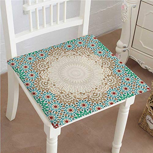 Chair Seat Pads Cushions Ottoman Mosaic Art Pattern with Oriental Floral Forms Antique Scroll Ceramic Boho Print Square Car and Chair Cushion/Pad with Ties, Soft, for Indoors Or Outdoor 32
