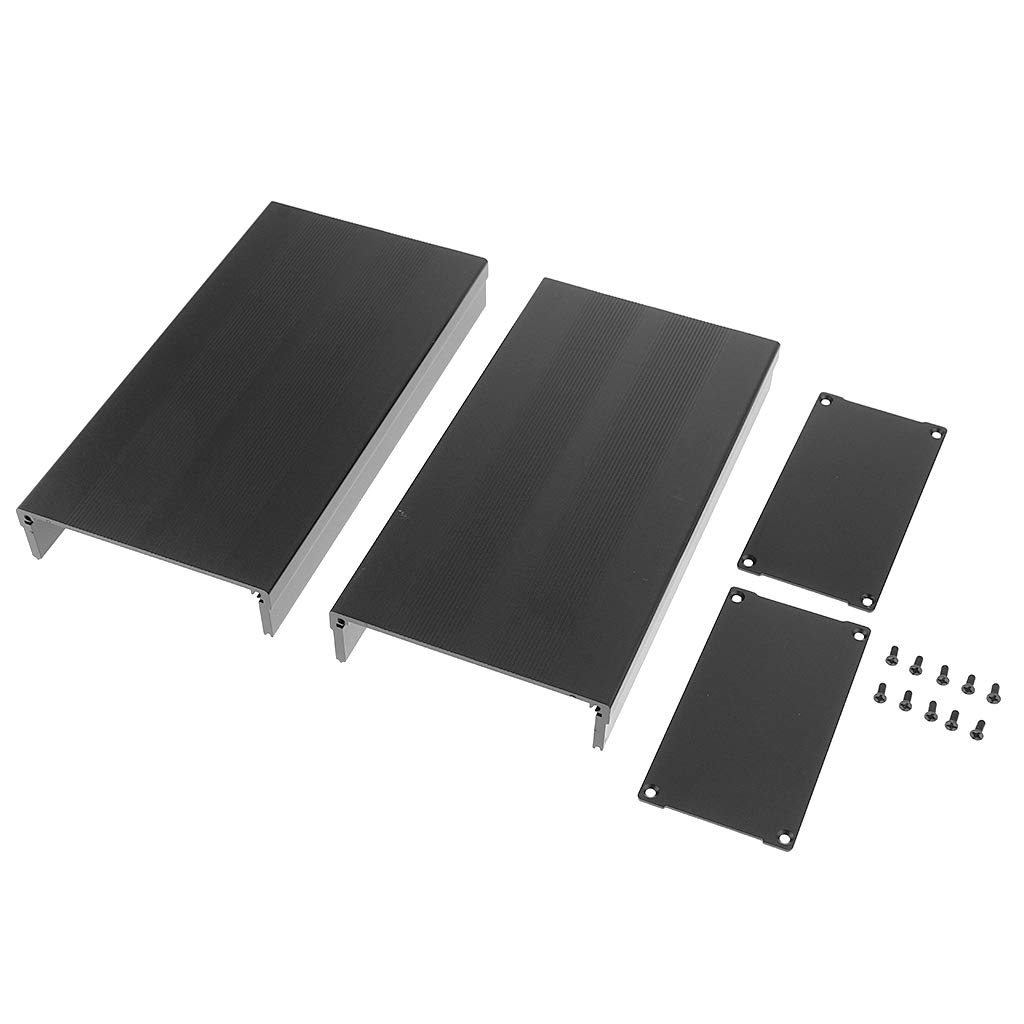 perfk Premium Extruded Aluminum Enclosure PCB Cooling Flat Box Case DIY 105x55x200mm Black