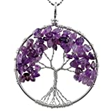 rockcloud Tree of Life Tumbled Stone Pendant Necklace Wire Wrapped