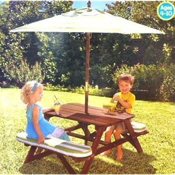 Amazon Com Kidkraft Picnic Table With Large Rectangular Umbrella Amp Matching Seat Cushions