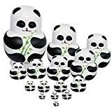 Winterworm Set of 15 Panda with Bamboo Nesting Dolls Matryoshka Russian Doll Popular Handmade Kids Girl Gifts Christmas Toy
