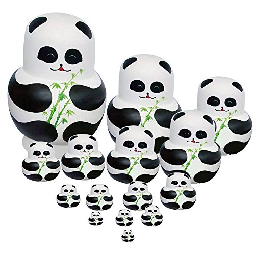 Winterworm Set of 15 Panda with Bamboo Nesting Dolls Matryoshka Russian Doll Popular Handmade Kids Girl Gifts Christmas Toy by Winterworm (Image #8)
