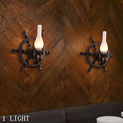 HOMEE Wall lamp- american retro industry wind and iron wall lamp creative bar net coffee shop living room decoration wall lamp --wall lighting decorations by HOMEE