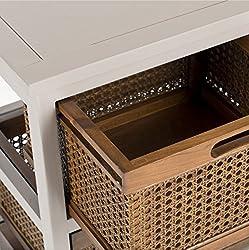 Safavieh Jackson Grey 4-drawer Wicker Basket Storage Unit Wood Cabinet