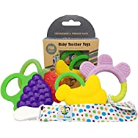 Ike & Leo Teething Toys: Baby Infant and Toddler WITH Pacifier Clip / Teether...