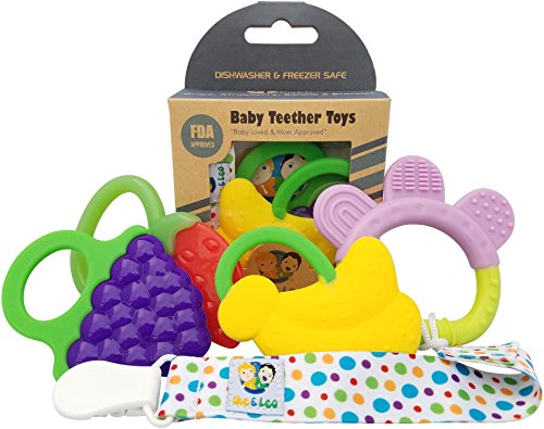 Ike & Leo Teething Toys: Baby Infant and Toddler WITH Pacifier Clip/Teether Holder, Best for Sore Gums Pain Relief, Eco Friendly BPA Free & Freezer Safe, Set of 4 Silicone Teethers from Ike & Leo