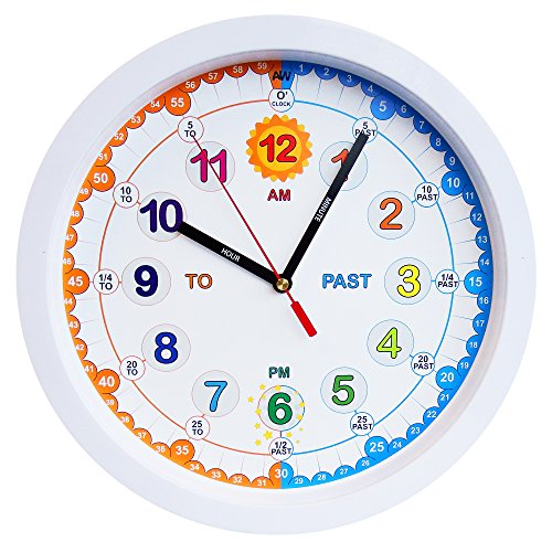 -[ Aniclock Time Teacher Children Wall Clock, Easy to Read clock with Silent movement. Teach childr