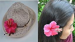 Hawaiian Red Hibiscus Sweet Flower Foam Brooch Pin Hair Clip Accessory Aquarium Floating Decoration