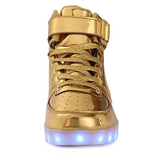 TUTUYU Kids & Adult 11 Farben LED leuchten Schuhe High Top blinkende Turnschuhe für Weihnachten Golden