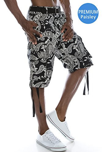 JC DISTRO Mens Hipster Hip Hop Belted Bandana Paisley Print Black Cargo Shorts 30 -