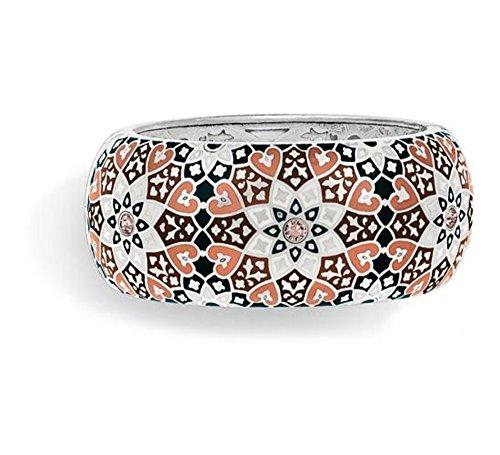 (Brighton Zahra Love Silver and Pink Neutral Enamel Wide Bangle Bracelet)