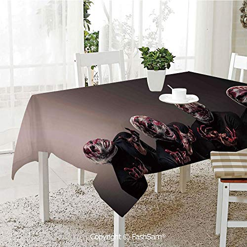 AmaUncle Party Decorations Tablecloth Bloody Faces with Bandage of Screaming Zombie Looks Scary Spooky Dark Art Pattern Resistant Table Toppers (W60 xL84) -