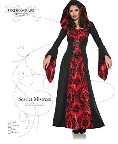Women's Gothic Dress Costume - Scarlette Mistress Black/Red -