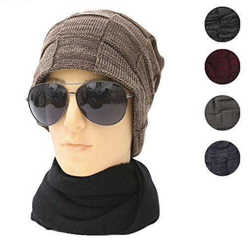 Enrejado Gran Roffatide Hombre Gorro Slouchy Para Mujer Beanie y Cálido Invierno Sombrero de Marrón de Tejer Sombrero d55xOvr