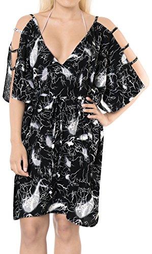 LA LEELA Soft fabric Printed Swimsuit Cover Up OSFM 16-20 [XL-2X] Black_6609 by LA LEELA (Image #6)