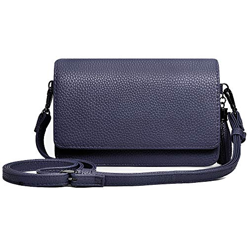 (Small Crossbody Bag Cell Phone Purse Wallet Lightweight Roomy Travel Passport Bag Crossbody Handbags for Women (Horizontal Navy Blue))
