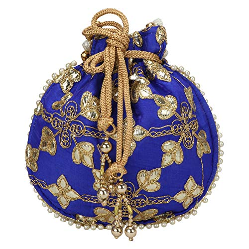 - Indian Ethnic Designer Embroidered Silk Potli Bag Batwa Pearls Handle Purse (Blue)