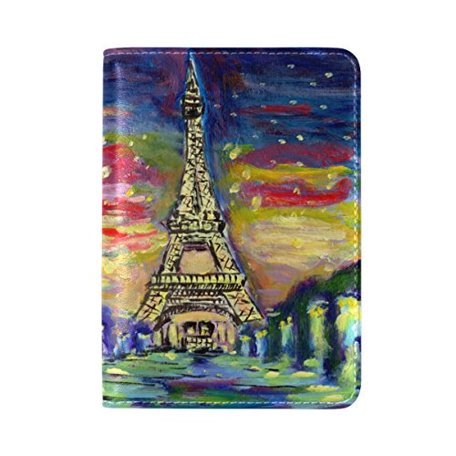 Watercolor France Paris Eiffel Tower Travel Passport Covers Holder Case Protector