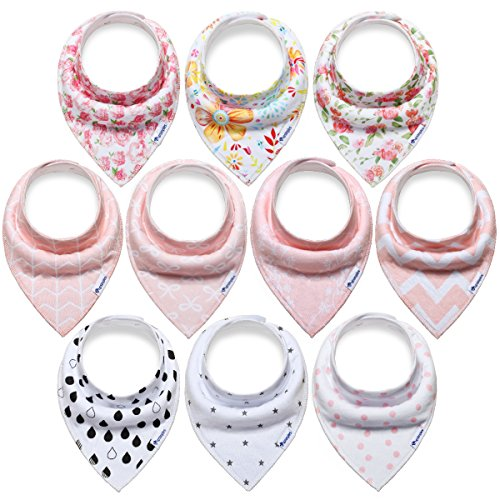 Organic Cotton Bib (10-Pack Bandana Bibs Upsimples Baby Drool Bibs for Drooling and Teething, Organic Cotton, Super Absorbent, 10 Stylish Design for Baby Girls Toddler, Baby Shower Gift Set)