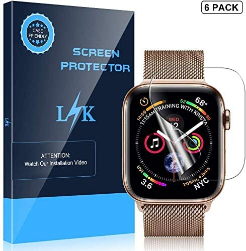 [6 Pack] LK Screen Protector for Apple Watch 44mm Series 5/4 Max Coverage Flexible Clear Film Scratch-resistant Bubble Free