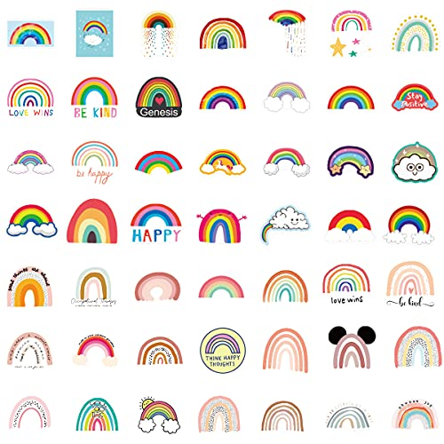 ViKiVi Rainbow Stickers 100 Pcs, Waterproof Stickers for Water Bottle Hydroflask, Trendy Cute Laptop Stickers, Vinyl Decal Stickers Pack for Computer Skateboard Phone case