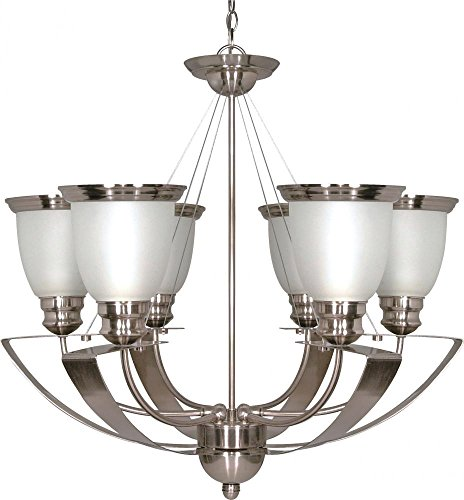 Nuvo 60/616 6 Light Chandelier with Satin Frost Glass