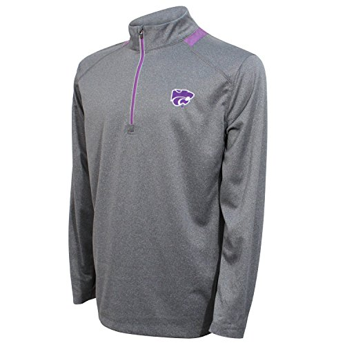 Crable NCAA Men's Quarter Zip with Team Neck Panel,Kansas State Wildcats,Heather Gray/Purple,X-Large