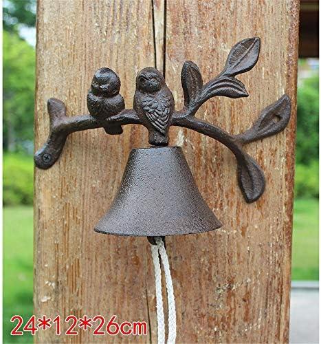 アンティークドアベル 壁の装飾鋳鉄ドアベルクリエイティブドアベルディナー鳥と葉のデザインガーデンパティオポーチ 風鈴 呼び鈴 風水 グッズ 縁起物 (Color : C1, Size : As shown)