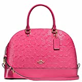 New Authentic COACH 'Debossed Sierra Satchel Dome' Dahlia Pink Patent Leather Domed