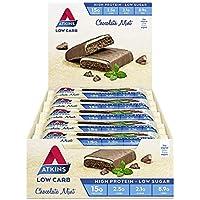 Atkins Chocolate Mint Bars | Keto Friendly Bars | 15 x 60g Low Carb Chocolate Mint Bars | Low Carb, Low Sugar, High Protein, High Fibre | 15 Bar Pack