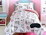 Paris Twin Comforter, Sham, Sheet Set & Home Style Exclusive Sleep Mask (6 Pc Bedding Bundle)