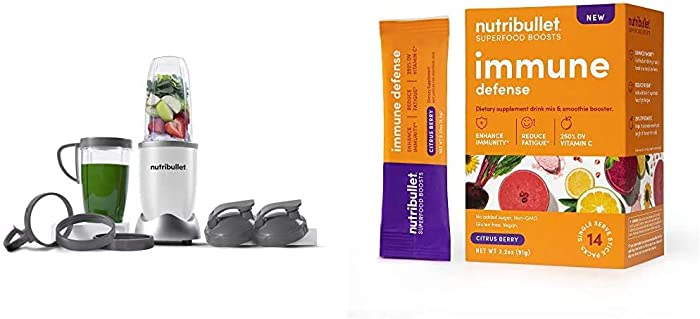 NutriBullet NB9-1301W Pro 13 Pcs White with SuperFood Immune Defense Boosts with SuperFood Immune Defense Boosts - 14 Single Serve Packs