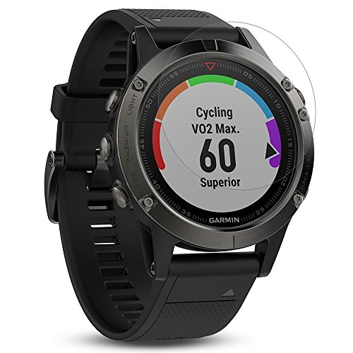 b7199a86a7b56 FINENIC Compatible with Garmin Fenix 5 smartwatch [4 Pack] Screen Protector  [ 9H Tempered Glass] [No White Edge][Easy-Install] ...