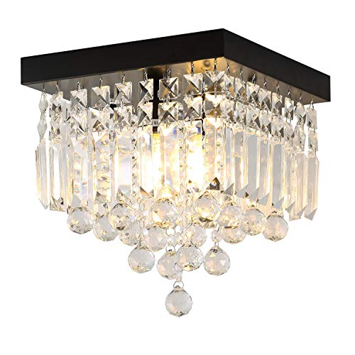 AncientHome 2-Light Mini Iron Crystal Chandelier, Modern Vintage Flush Mount Ceiling Lighting Fixture for Bedroom, Hallway, Bar, Kitchen, Bathroom, Black