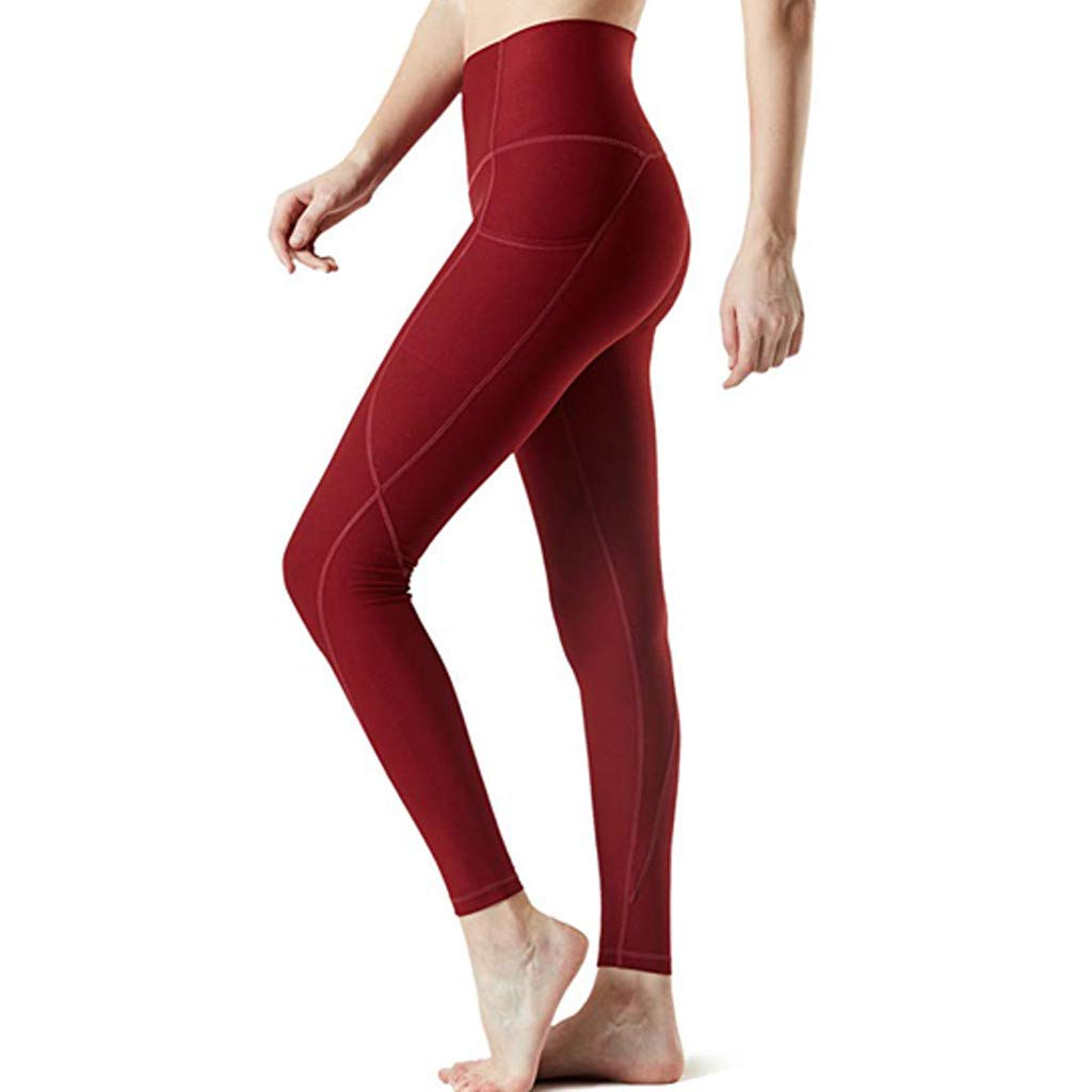 4Clovers Women's High Waist Yoga Pants Tummy Control Workout Leggings 4 Way Stretch Active Yoga Capris Red